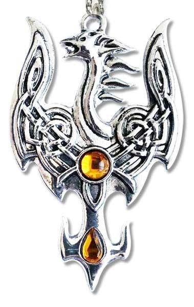 Anhänger Phönix mit keltischen Motiven Zinklegierung mit gelben Zirkonia inkl Kette