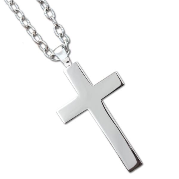 Anhänger grosses Kreuz mit Kette Big Cross Länge 6,5cm aus Edelstahl