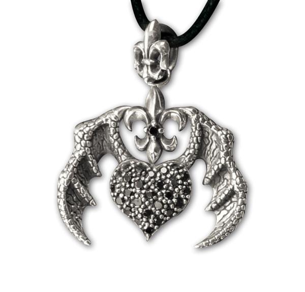 Anhänger Drachenherz 925er Sterling Silber mit Zirkonia
