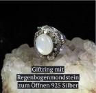 Giftring mit Regenbogen Mondstein 925er Silber 2cm Ring zum Öffnen