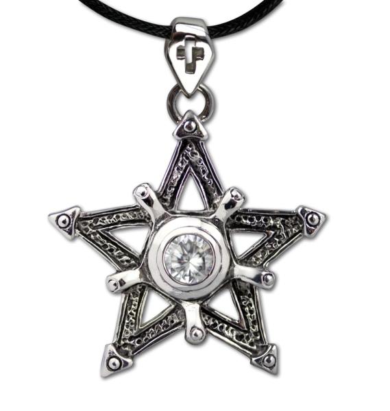 Pentagramm mit weissen Zirkonia Anhänger