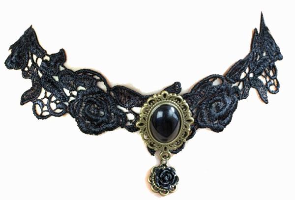 Gothic Halsband Black Roses
