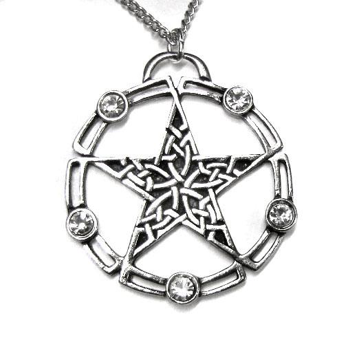 Pentagramm Amulett aus Zinn mit Zirkonia