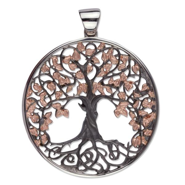 Amulett Lebensbaum Baum des Lebens 925er Sterling Silber rotgold beschichtet und schwarz rhodiniert