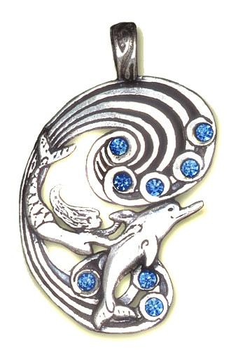 Anhänger Meerjungrau und Delphin Zinn