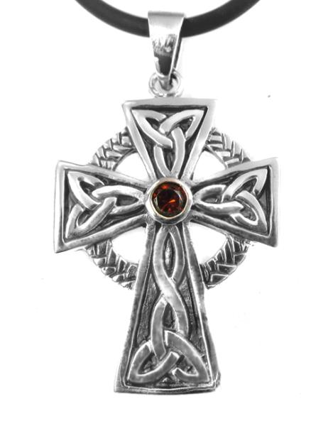 Keltisches Kreuz Anhänger 925 Silber mit rotem Zirkonia