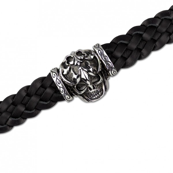 Lederarmband Totenkopf mit Lilie Skull Armband aus schwarzen Leder mit Edelstahl Länge 20cm
